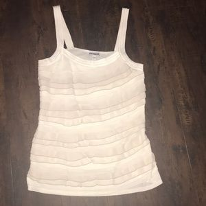 Express tank with chiffon cream  and gray ruffles